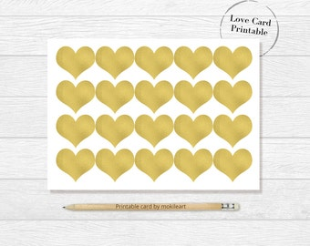 Love card,Instant Download,printable  card,Printable Golden digital card print ,anniversary, wedding,mother's day,for her