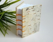 Birch journal- custom handmade hardcover notebook journal with blank pages and birch tree bark- 100 recycled pages