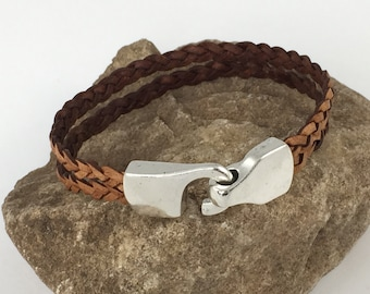 Natural Brown Double Strand Braided Leather Bracelet, Leather Bangle, Unisex Leather Bracelet, Men's Leather Bracelet, Brown and Silver