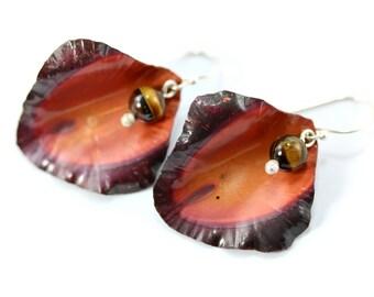 Petal Earrings, Flower Earrings, Bohemian Jewelry, Fold Formed Copper Earrings, Bohemian Earrings, Sterling Silver Earrings, Silver jewelry