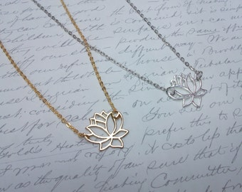 Gold / silver lotus flower necklace