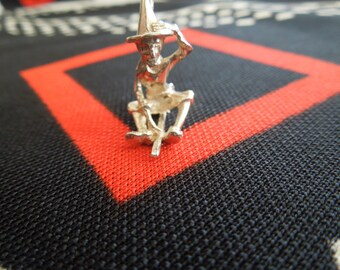 Sterling Witch Charm Vintage Witch On A Broomstick Halloween Charm Sterling Silver Charm for Bracelet from Charmhuntress 01945