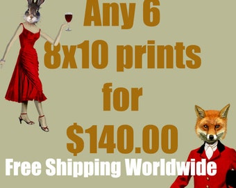 Any 6 8X10 prints for 140Dollars - FREE SHIPPING Worldwide