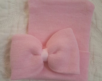 Pink Newborn girl hat with Light Pink center ribbon and matching pink bow.  Newborn beanie. Hospital newborn hat.