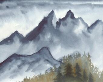 High Mountain Rain - Original Watercolor Painting