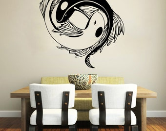 Asian wall decal etsy for Decoration murale yin yang
