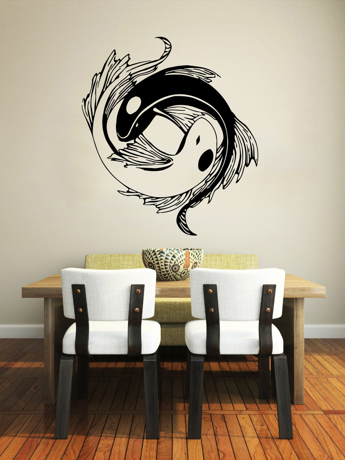 wall decal yin yang koi fish geometric chinese asian home. Black Bedroom Furniture Sets. Home Design Ideas