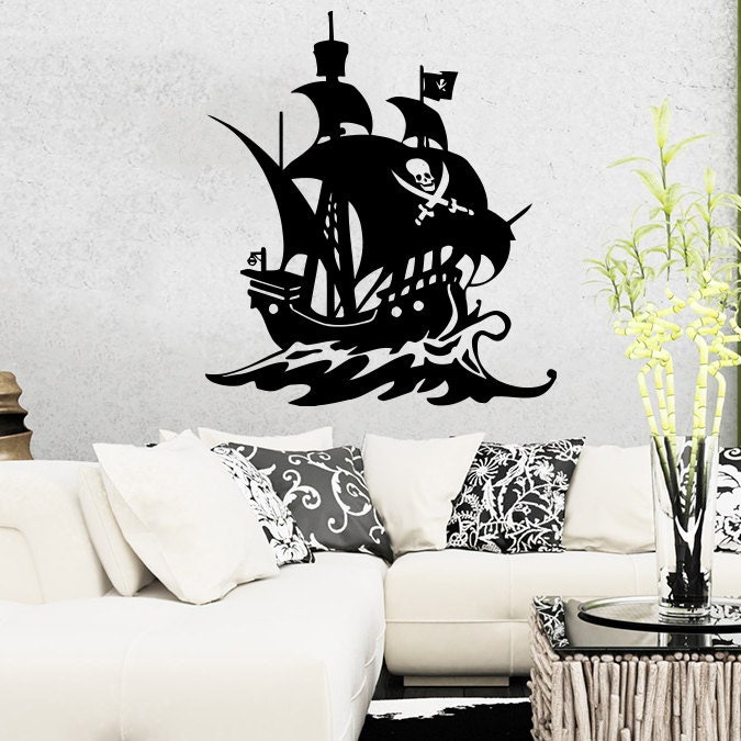 pirate ship wall decal nautical sea boat ocean decals wall. Black Bedroom Furniture Sets. Home Design Ideas