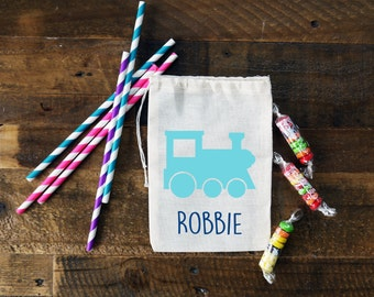 Train Personalized Party Favor Muslin Bags {set of 10}