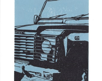 Land Rover linocut - Land Rover art print, 4x4 art print, classic car art
