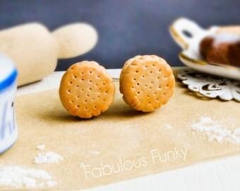 Mini double biscuit ear studs miniature food