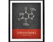 Chocolate molecule print. Chocolate print chocolate poster kitchen print kitchen poster red kitchen decor Theobromine molecule LatteDesign