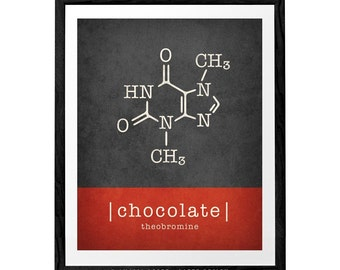 Chocolate molecule print. Chocolate print chocolate poster kitchen print kitchen poster red kitchen decor Theobromine molecule LatteDesign