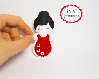 Felt brooch pattern Spanish girl doll PDF sewing tutorial instructions - cute soft handmade white red black DIY gift - Instant Dawnload