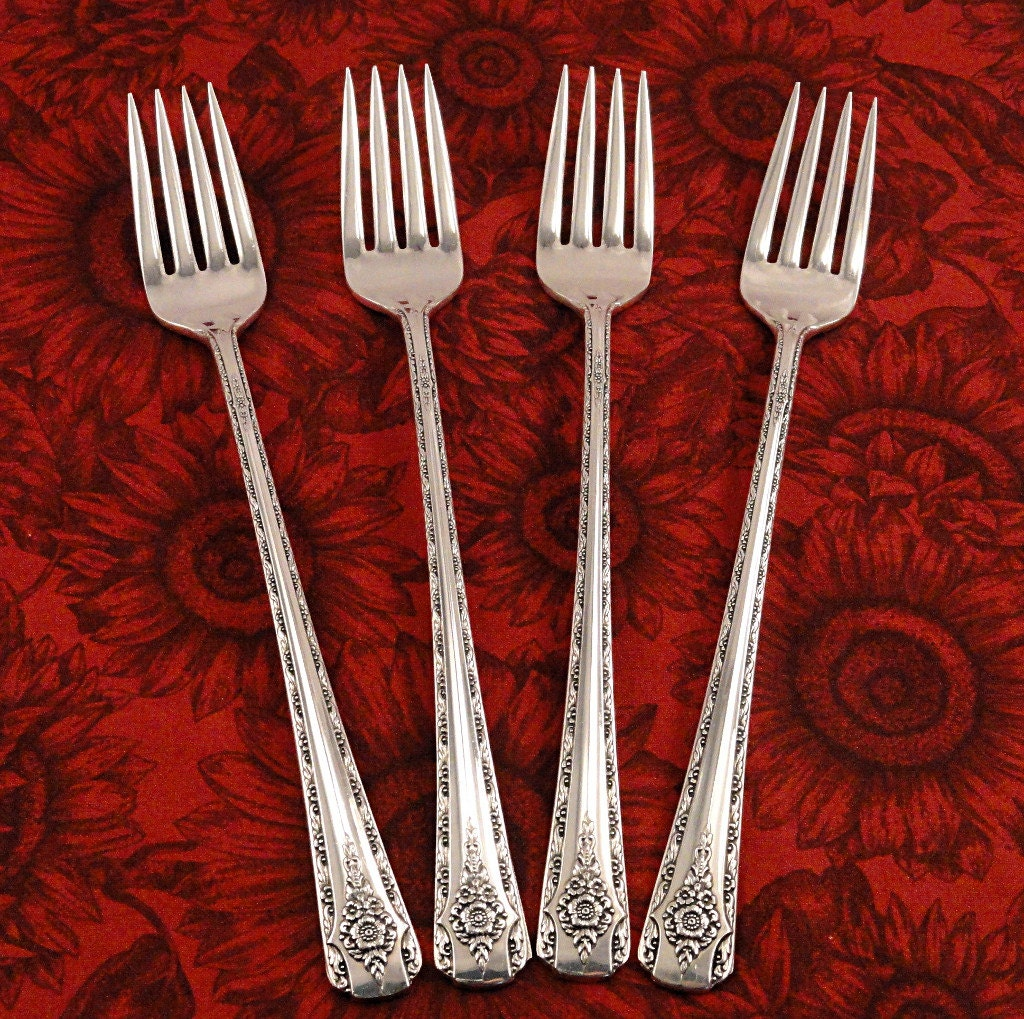 4 grille viande dinner forks elegance by anchor rogers. Black Bedroom Furniture Sets. Home Design Ideas