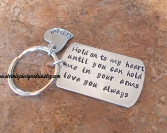 Personalized Couples Keychain, Hold On To My Heart Until You Can Hold Me In Your Arms