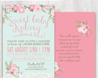 Printable baby shower invitation - Floral and Lace - Pink and mint - Baby shower - Baby girl shower - Bring a book card - Customizable
