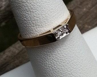 14k diamond ring, yellow gold diamond ring, minimalist diamond ring, minimalist wedding band, diamond stacking ring, engagement ring