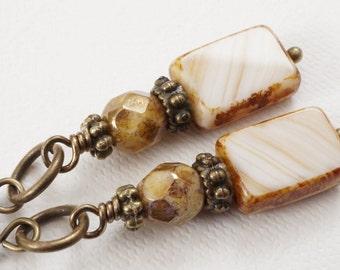 Cream beige earrings, Czech glass earrings, antique bronze earrings, Picasso glass earrings, fire polished czech glass earrings, UK seller