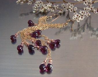 Gold garnet earring Long chain earring Red gemstone Cascade earring Waterfall earring January birthstone Tassel beaded earrings Red garnet