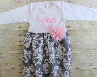 Newborn Gown - Grey Damask - Baby Pink - Going Home Outfit - Baby Shower Gift - With Headband