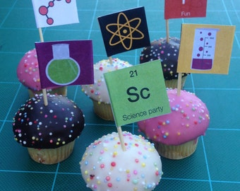 Science Food Flags Instant Printable. Instant Download DIY for Science Party.  Great for kids party or fun family dinner and lunches.