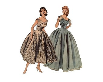 FREE PATTERNS, Formal Evening Gown, Early 1950s, Butterick 6810