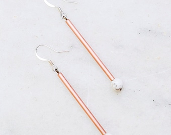 Copper and Howlite Drop Earrings - Long Crystal Healing Earrings - Metaphysical Healing
