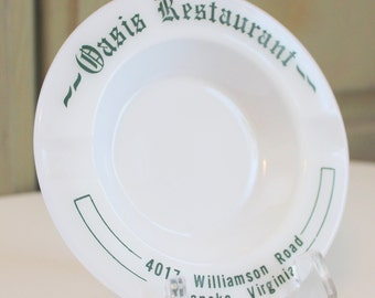 Vintage Milk Glass Advertising Ashtray Oasis Restaurant Roanoke Virginia White Green Made in USA Vintage Souvenir