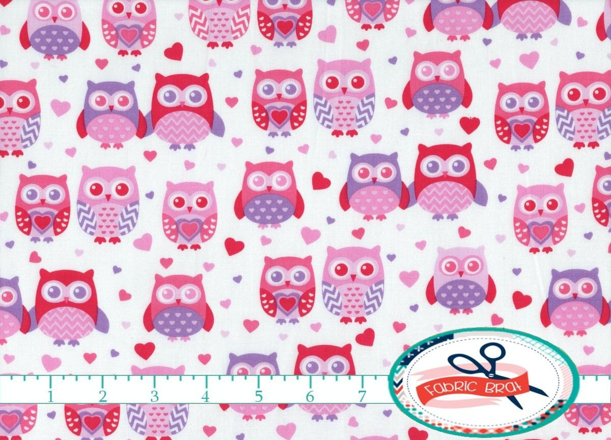 PINK OWL Fabric by the Yard Fat Quarter Purple and by ...
