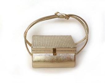 Vintage Arnold Scaasi for Meyers Evening Bag Gold Metallic Leather Rhinestones