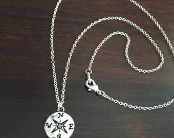 Silver Compass Necklace, compass necklace, small compass necklace, compass jewelry, nautical necklace