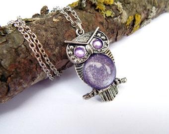 Owl Necklace, owl choker, owl lover gift idea, owl jewelry, layering necklace, wise owl, Pisces, Aquarius, Sagittarius, Scorpio, Ice Purple