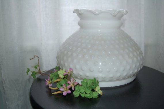 hobnail milk glass lamp shade for antique parlor lamp table