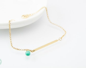Gold tube bracelet, Beaded Bracelet, gold tube chain, tube chain bracelet, Friendship bracelet, gold chain bracelet, turquoise bead bracelet