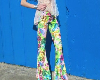 FLORAL  VELVET 70's velour free people hippie chic boho dance festival burning man gypsy flare bell bottom pants (or leggings)