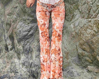 70'S FLOWER POWER lace tan hippie chic boho dance beach resort yoga festival burning man gypsy flare bell bottom pants