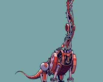 Brachiosaurus Robosaur art print 10x8