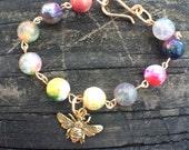 Honey Bee Agate Charm Bracelet
