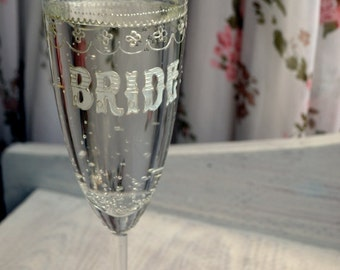 Bridal champagne flute, bridal shower gift, lace wedding, wedding gift, bride gift, toasting flutes, champagne glasses, toasting glasses