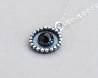 Black Onyx Necklace, Sterling Silver Black Onyx Necklae, Black Onyx Jewelry