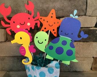 Set of 5 Ocean Centerpiece Stick, Ocean birthday, Ocean party, Under the Sea Birthday, Under the Sea Party;