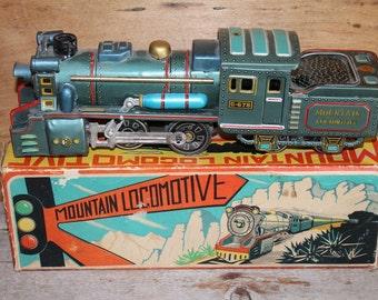 Mountain Locomotive Tin Friction Toy in Original Box