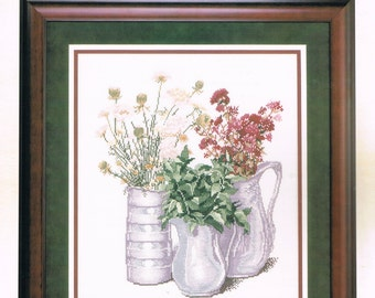 CROSS STITCH PATTERN - Flower Cross Stitch - Morning Harvest Cross Stitch Chart - Bouquet Wild Flowers In A Vase