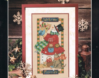 CROSS STITCH PATTERN - Frosty's Welcome Counted Cross Stitch Pattern - Christmas Snowman Cross Stitch - Folk Art - Dimensions 356