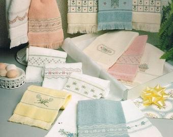 CROSS STITCH PATTERN - Powder Room Pastels Towel Cross Stitch Patterns - Kitchen Towel Design - Fingertip Towels