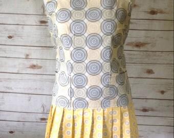 Retro Apron, Wrap Apron, Vintage Apron, 1920s, Yellow, Beige, Flapper Dress