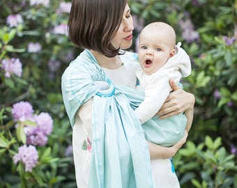Baby ring sling - Baby Carrier - Card as a gift - light turquois