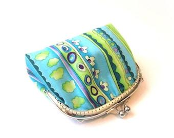 Blue frame purse silver kiss lock clasp bag metal frame clutch blue stripe cotton coin purse, blue frame makeup bag