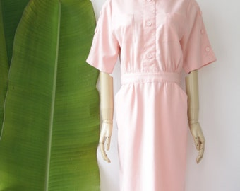 Pastel peach summer dress. Pastel wiggle dress. 80s does 50s dress. Avant garde dress. Peach midi dress. Small / Medium